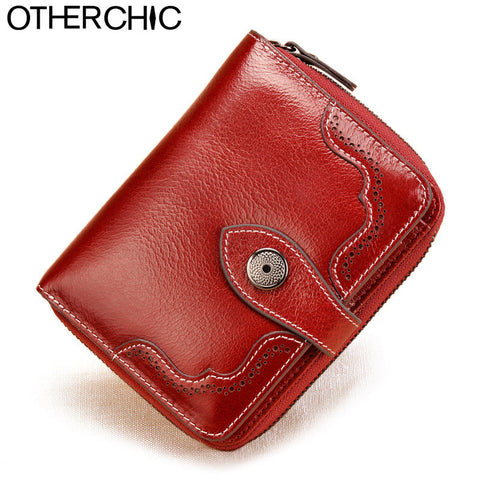 Vintage Genuine Real Leather Women Small Wallet