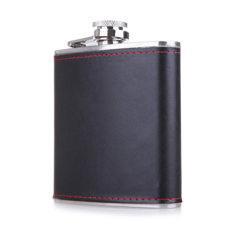 6oz Hip Flask - Faux Leather Wrapped.