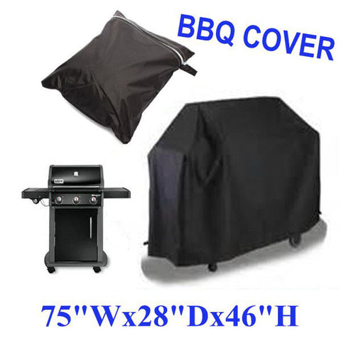 2 Size Black Waterproof BBQ Cover .