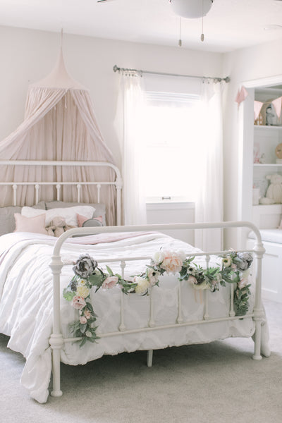 Blush & Grey Flower Garland - Toddler Girl Bedroom Reveal