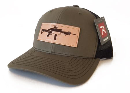 NC AR Leather Patch Trucker Hat (Olive)