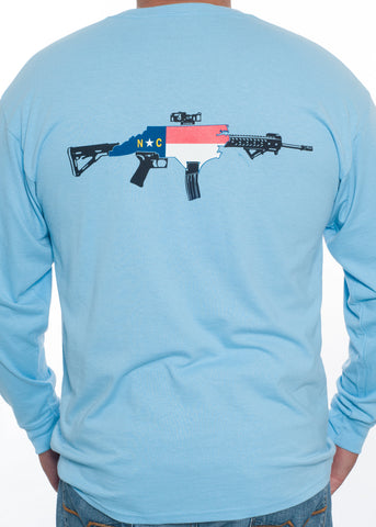 NC Rifle Long Sleeve Tee (Light Blue)