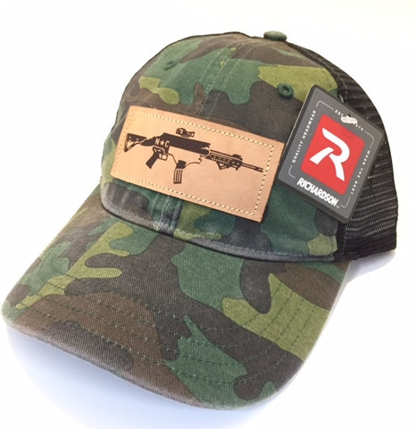 Unstructured Mesh NC AR Leather Patch Hat (Camo/Black)