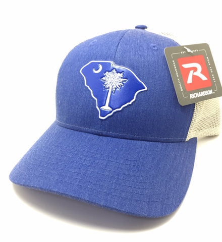 SC Palmetto Gun Tree Trucker (Heather Blue/ White)