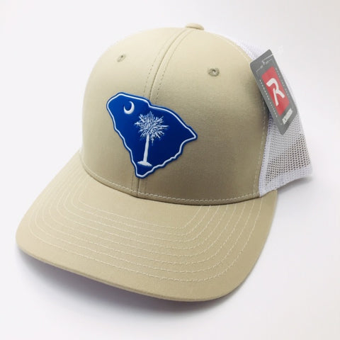SC Palmetto Gun Tree Trucker (Khaki/ White)