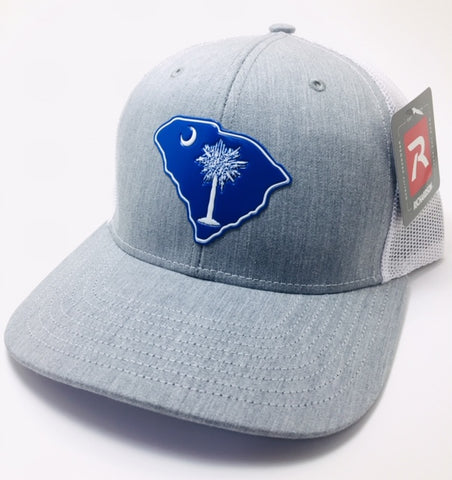 SC Palmetto Gun Tree Trucker (Heather Grey/ White)