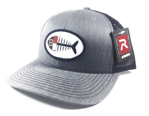 NC Fish Patch Trucker  Hat (Heather Grey/Navy)