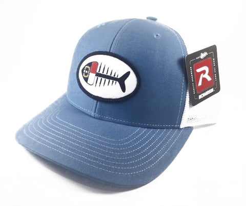 NC Fish Patch Trucker Hat (Carolina Blue)