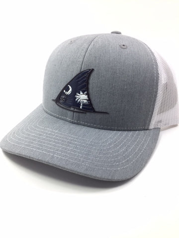 SC Red fish Tail Fin Hat (Heather Grey/white)