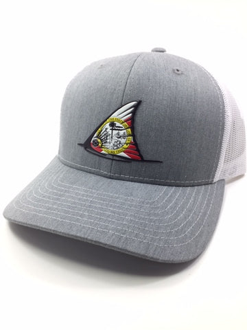 FL Red fish Tail Fin Hat (Heather Grey/white)