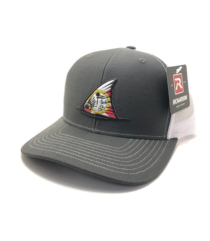 FL Red Fish Tail Fin Hat (Charcoal/White)