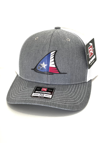 TX Redfish Tail Fin Hat (Heather Grey/White)
