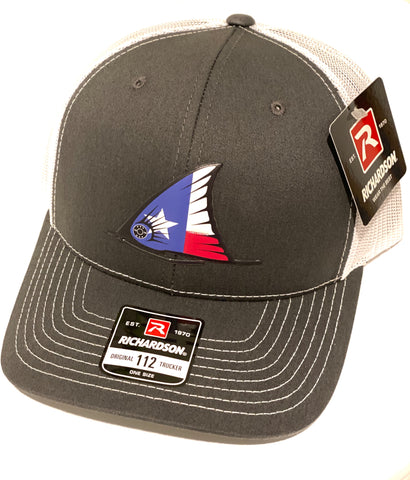 TX Redfish Tail Fin Hat (Charcoal/white)