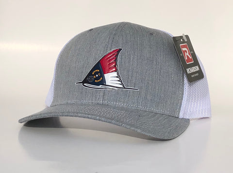 NC Red fish Tail Fin Hat (Heather Grey/white)