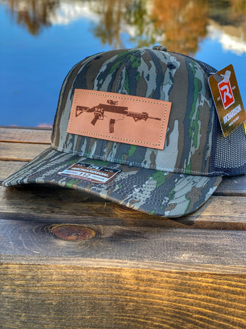 NC AR Leather Patch Hat Realtree Original/ Black Mesh Hat