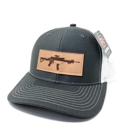 NC AR Leather Patch Hat (Charcoal/White)