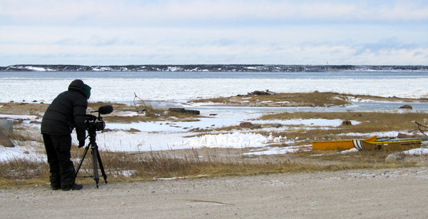 Costa Botes filming The Last Dogs of Winter in Churchill, Manitoba, Canada.