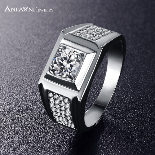 Silver Color Cubic Zircon Micro Pave Square Shape Ring