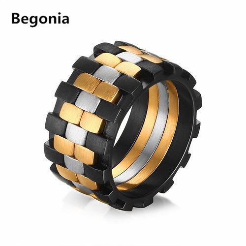 Three Colors Stainless Steel Mens Ring