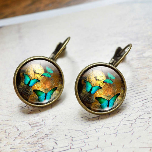 Vintage Butterfly Picture Glass Cabochon Earrings
