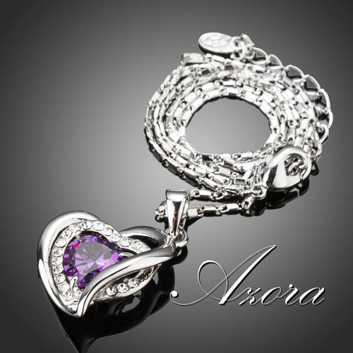 Three Heart  Purple Cubic Zirconia Pendant Necklaces
