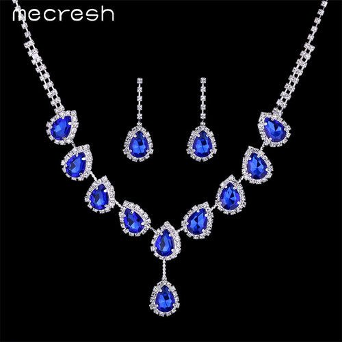 Blue Crystal Teardrop Rhinestone Necklace Bridal Set