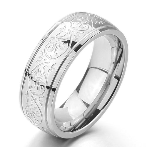 Men's Stainless Steel Engraved Florentine Design Ring