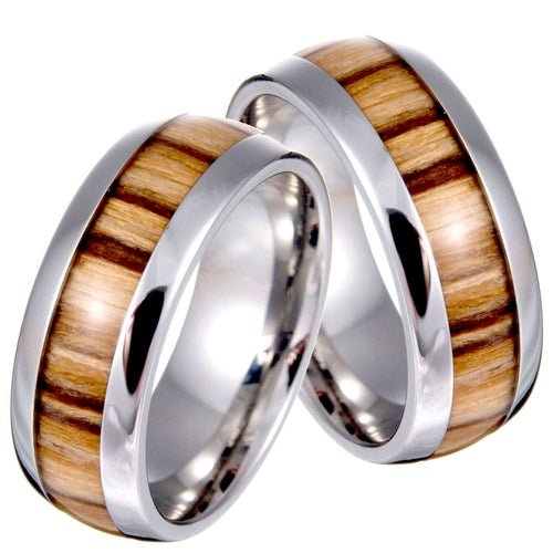 Vintage Titanium Stainless Steel Ring Wood Grain