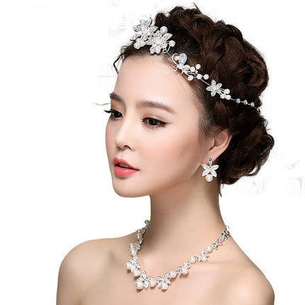 Bridal Tiara Necklace and Earring Pearl Jewelry Set