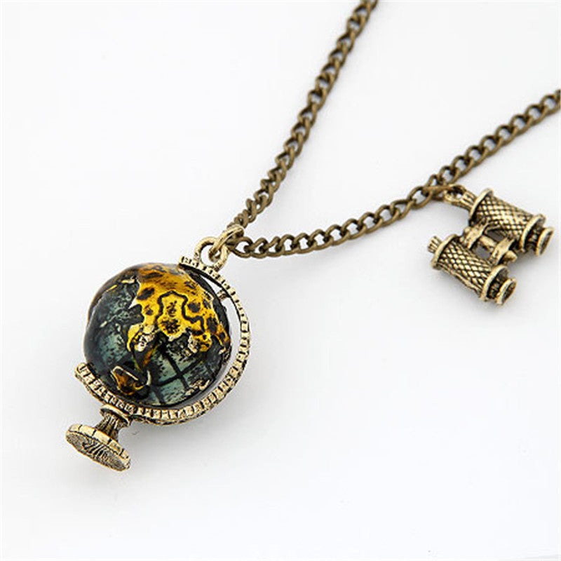 Vintage Telescope Travel Globe  Necklace & Pendant