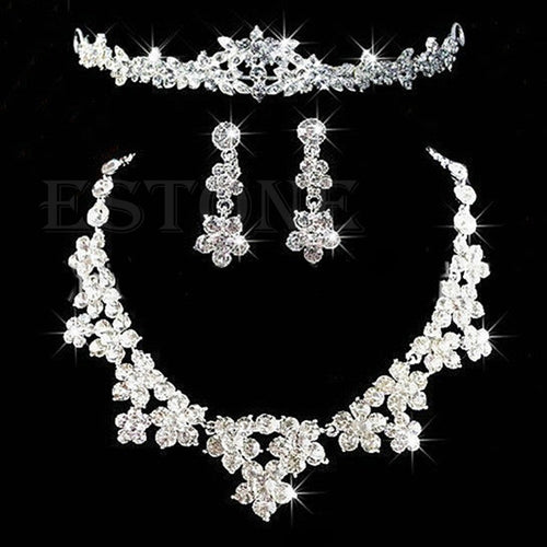 Bridal Crystal Rhinestone  Necklace Earrings Tiara Crown Jewelry Set