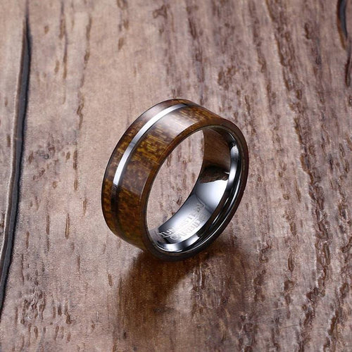 Men's Wood Tungsten Carbide Ring