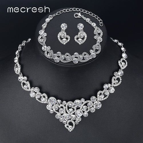 Romantic Heart Crystal  Bridal Necklace Earrings Bracelets Jewelry Sets