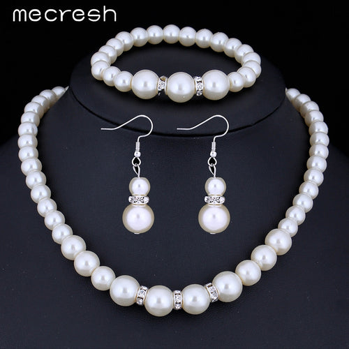 Simulated Pearl Necklace Earrings and Bracelet Bridal Jewelry Set