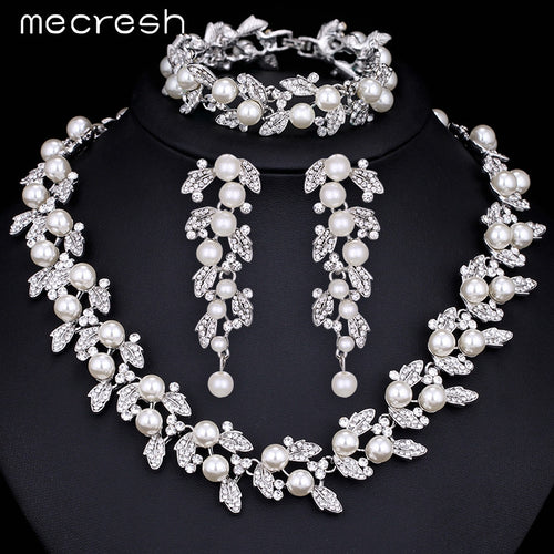 Simu- Pearl Silver / Gold-Color Necklace Bridal Jewelry Set