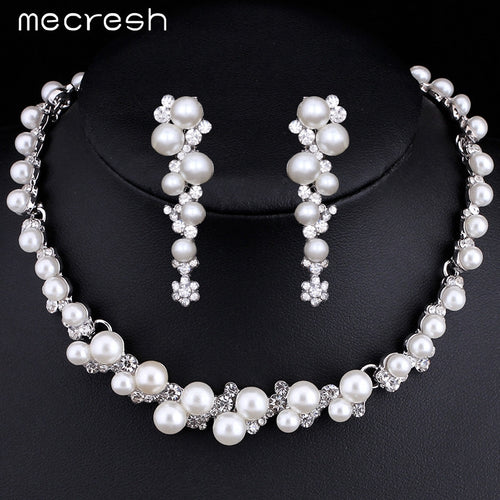 Pearl Flower Necklace Earrings Bridal Set