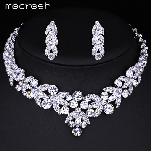 Luxurious Crystal Necklace Earrings Bridal Set