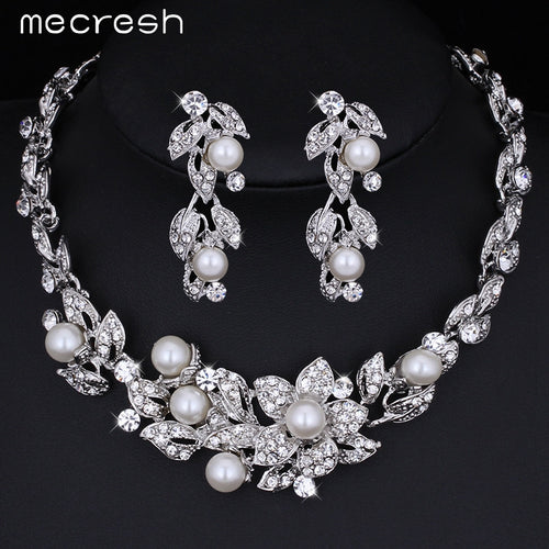 Pearl  Crystal Silver Flower Necklace Earrings Bridal Set