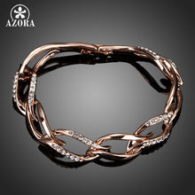8 Leaves Rose Gold Color Clear  Austrian Crystal  Bracelet