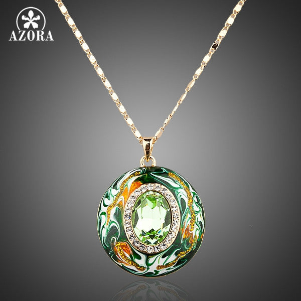 Austrian Crystals Oil Painting Pattern Design Pendant Necklace