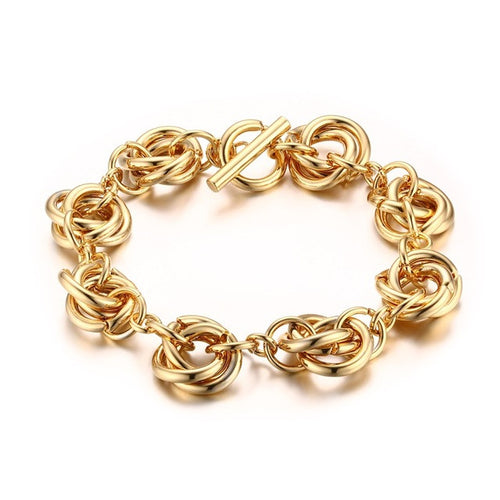 Gold-Color Stainless Steel Linked Chain  Bracelet