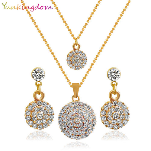 Gold Color Round Crystal Stones Stylish Necklace Earrings Bridal  Sets