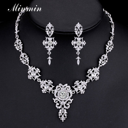 Classic Crystal Silver/Gold-color Choker Necklace Earrings Bridal Sets