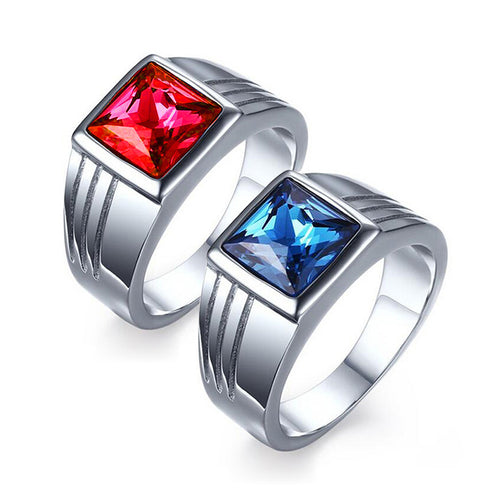 Stainless Steel Blue/ Red Stone Ring for Men