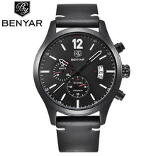 Military Style Waterproof Wristwatch Quartz  Date Display Genuine Leather Band