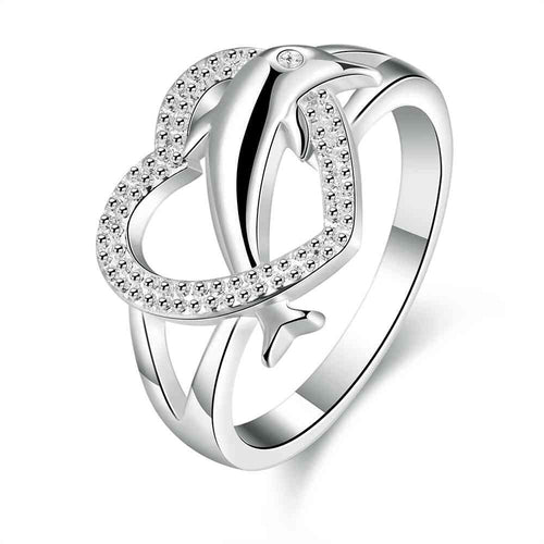 Silver 925  Heart Dolphin  Ring SIZE 7 and 8 only