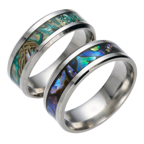 Abstract style Enamel and  Titanium Steel Ring