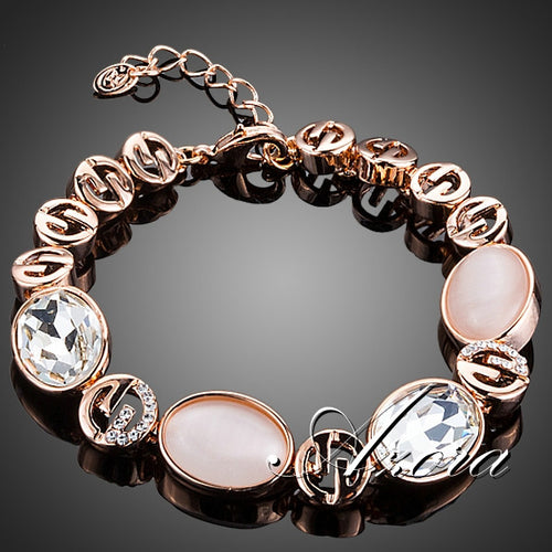 Pink Opal and Clear Stellux Austrian Crystal Bracelet
