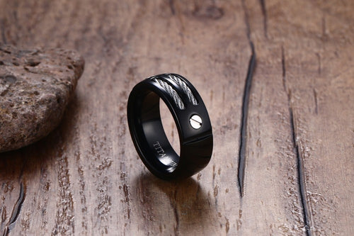 100%  Black Titanium Ring With Wire