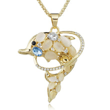 Opals Dolphins Exquisite Long Chain Necklace